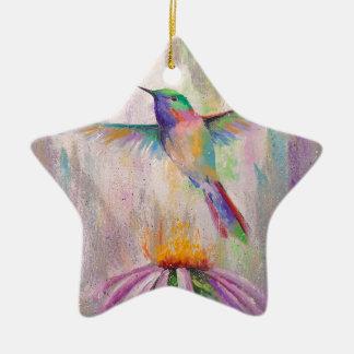 Colibri de vol ornement étoile en céramique