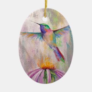 Colibri de vol ornement ovale en céramique