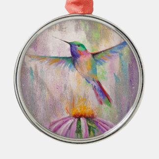 Colibri de vol ornement rond argenté