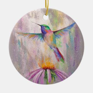 Colibri de vol ornement rond en céramique