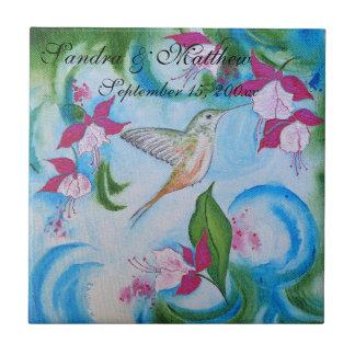 Colibri et dessous de verre floraux fuchsia de carreau