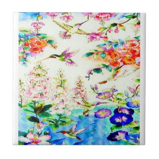 Colibri-Rose-Fleurs Carreau