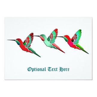 Colibris colorés par vacances carton d'invitation  12,7 cm x 17,78 cm