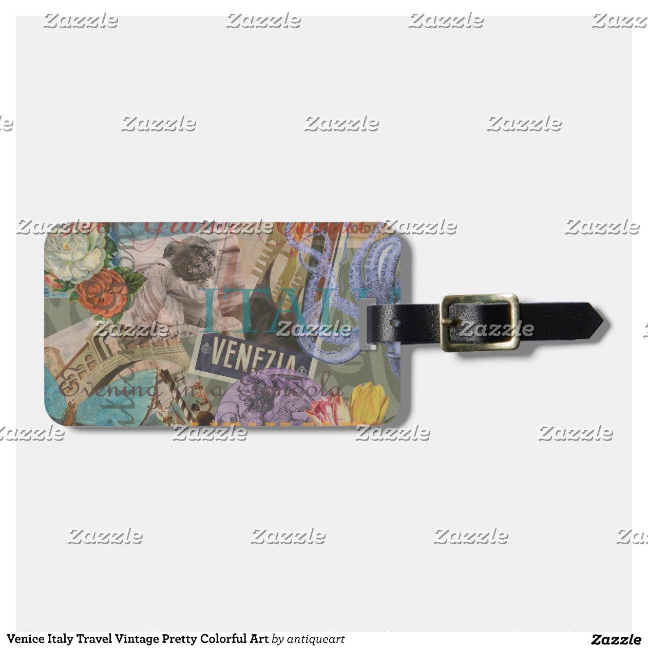 collage la mode vintage de voyage de venise ital tiquette de bagage zazzle. Black Bedroom Furniture Sets. Home Design Ideas