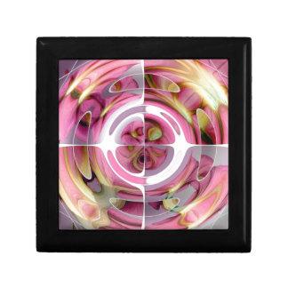Collage abstrait de mandarine et de rose petite boîte à bijoux carrée