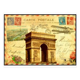 Collage antique Paris de carte postale d'Arc de