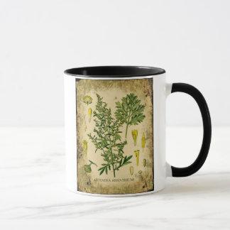 Collage botanique d'absinthe mugs