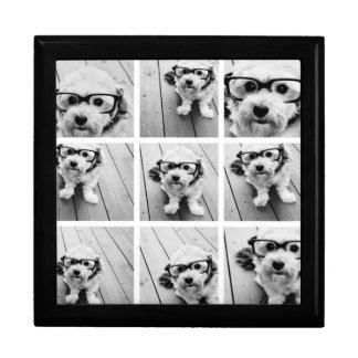 Collage carré de la photo 9 - noir et blanc grande boîte à bijoux carrée