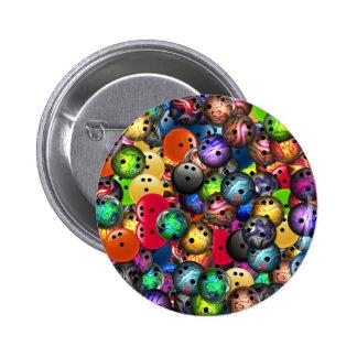 Collage coloré de boules de bowling badge