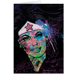Collage coloré de femme de merveille carte de vœux