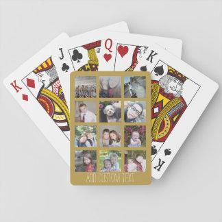 Collage de 12 photos avec l'arrière - plan d'or jeu de cartes