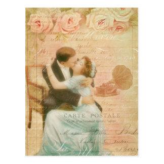 Collage de baiser de couples de Saint-Valentin vin Cartes Postales