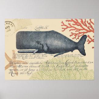 Collage de baleine bleue de bord de la mer poster
