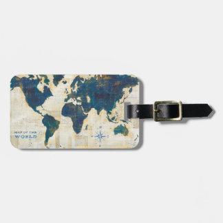 Collage de carte du monde étiquettes bagages