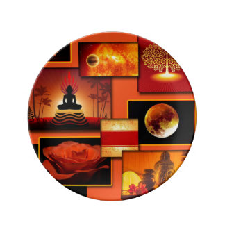 Collage de Chakra Assiettes En Porcelaine