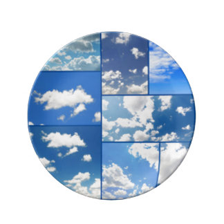 Collage de cieux bleus et de nuages de blanc assiettes en porcelaine