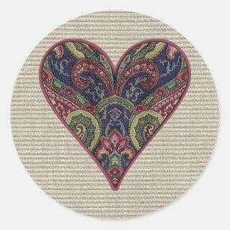 Collage de coeur de tissu