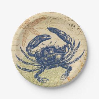 Collage de crabe bleu de bord de la mer assiettes en papier