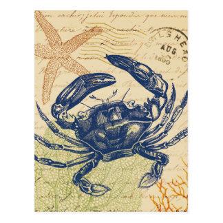 Collage de crabe bleu de bord de la mer carte postale