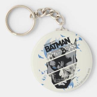 Collage de crâne de Gotham City Batman Porte-clefs