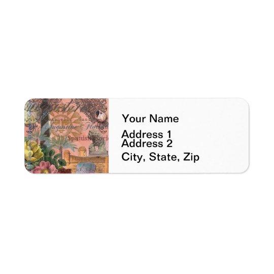 Collage de cru de St Augustine la Floride Étiquette D'adresse Retour