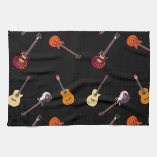 Collage de guitare électrique et acoustique serviettes éponge