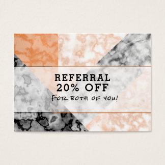 Collage de marbre de rose de référence de client cartes de visite