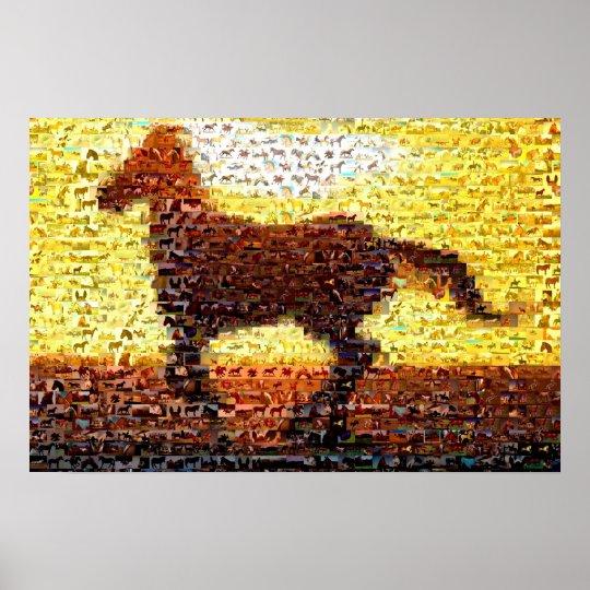 collage de mosa que de montage de cheval poster zazzle. Black Bedroom Furniture Sets. Home Design Ideas
