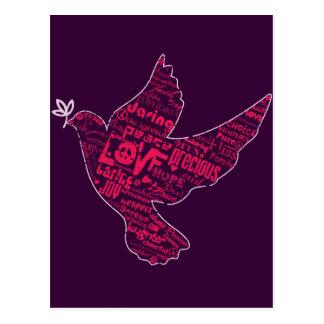 Collage de paix de colombe cartes postales