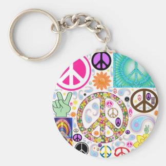 Collage de paix porte-clé rond