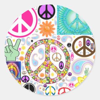 Collage de paix sticker rond