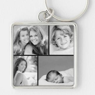 Collage de photo de famille porte-clé carré argenté