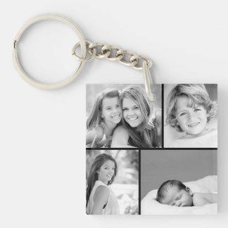 Collage de photo de famille porte-clé carré en acrylique une face
