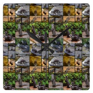 Collage de photo de loutre, horloge de mur carrée