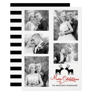 Collage de photo de nouveaux mariés de cerfs carton d'invitation  12,7 cm x 17,78 cm