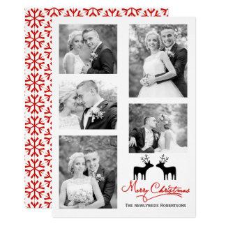 Collage de photo de nouveaux mariés de flocons de carton d'invitation  12,7 cm x 17,78 cm