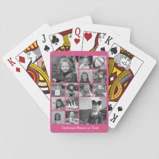 Collage de photo d'Instagram - rose de jusqu'à 14 Cartes À Jouer