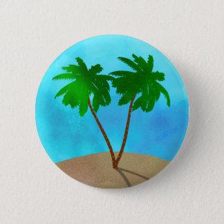Collage de scène de plage de palmier d'aquarelle pin's
