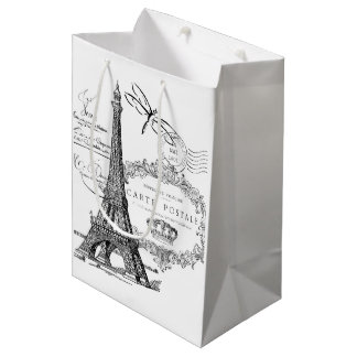 Collage de Tour Eiffel Sac Cadeau Moyen