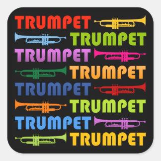 Collage de trompette autocollant carré