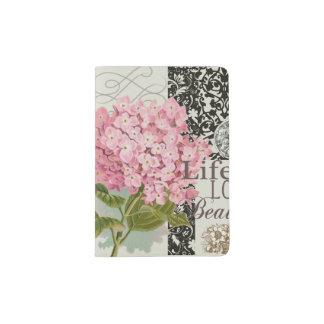 Collage décoratif floral de motif de damassé protège-passeport