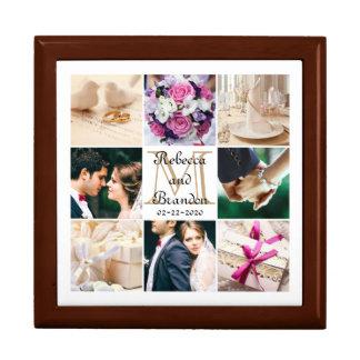 Collage décoré d'un monogramme de photo de mariage grande boîte à bijoux carrée