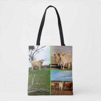 Collage des montagnes de photo de vache, sac à