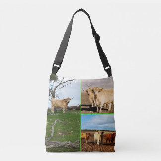 Collage des montagnes de photo de vache, sac de