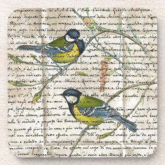 collage d'oiseaux de chickadees dessous-de-verre