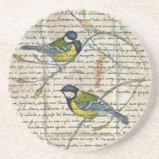 collage d'oiseaux de chickadees dessous de verre en grès