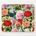 Collage floral assez chic de roseraie de cru tapis de souris