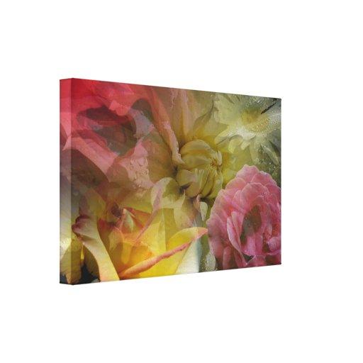 collage floral toile tendue sur ch ssis zazzle. Black Bedroom Furniture Sets. Home Design Ideas