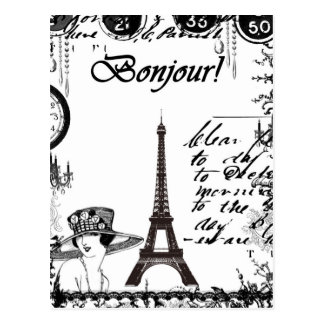 Collage français de Tour Eiffel Carte Postale