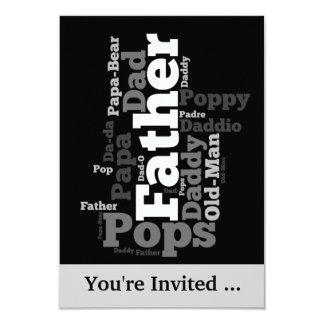 Collage noir et blanc de mot de père carton d'invitation 8,89 cm x 12,70 cm